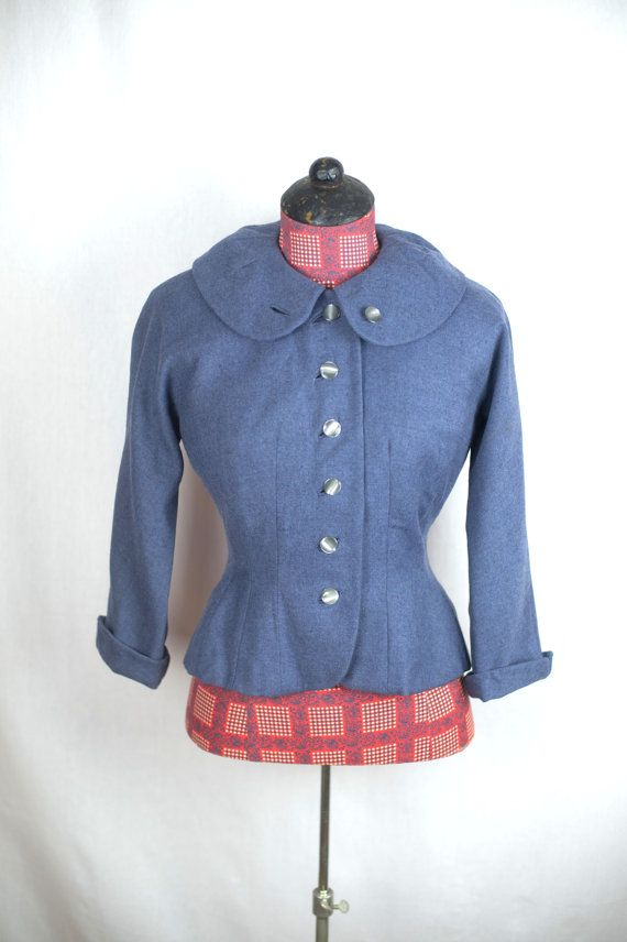 Vintage 1940s Jacket / Gabardine Military Style by PrizesforArla