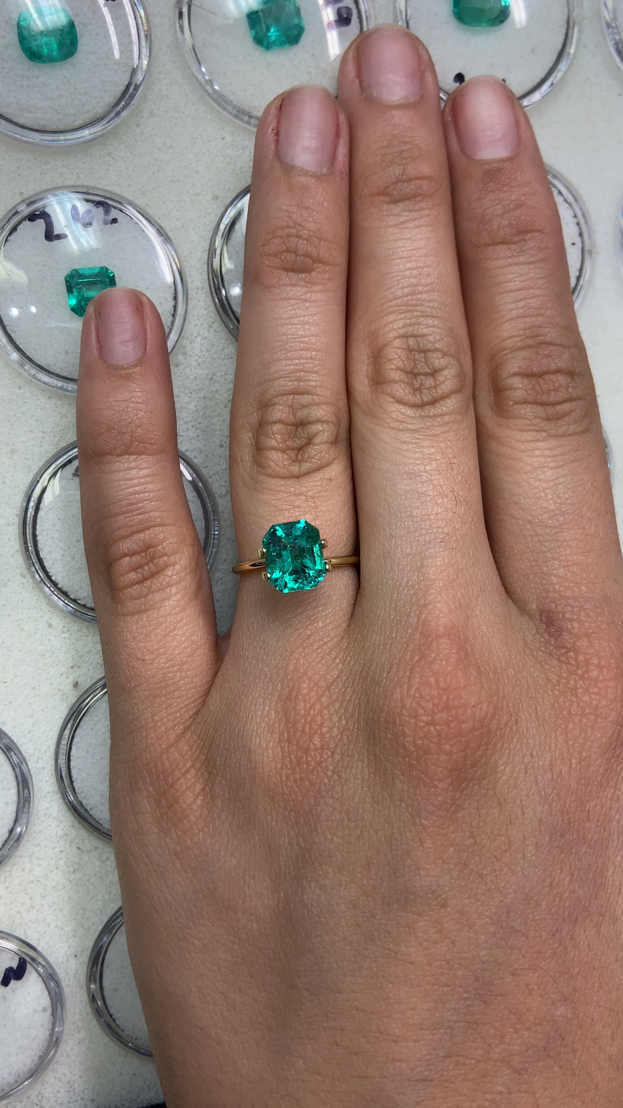 No emerald is perfect and this 2.83ct isn't the exception to the rule, however, when it comes to that sweet bluish-green color and excellent luster it's so easy to overlook nature's fingerprints. #emeraldring #emerald #emeralds #emeraldcut #finejewellery #jewelrylovers #jewelryaddiction #jewelryinspiration #gemstones #bespokejewellery #ringgoals #showmeyourrings #gemology #alternativeengagementring #alternativebridal #gemstonejewelry #highjewelry #colombianemerald #jewelgram #jewelrygoals
