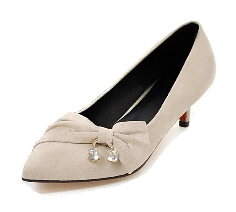 Aisun Women S Elegant Rhinestone Pointed Toe Dress Stiletto Kitten Heels Slip On Pumps Shoes With Bows Pump S Womens Shoes Pumps Kitten Heel Shoes Women Shoes