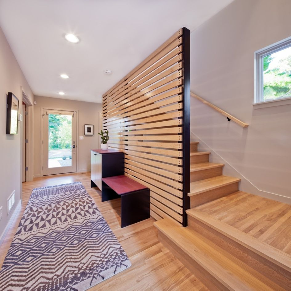 Cheap Curtain And Wooden Room Divider Design Idea That You