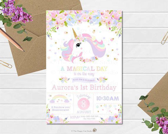Unicorn Invitation 1st Birthday Party Personalized S Pinterest - invitation for 1st birthday party girl