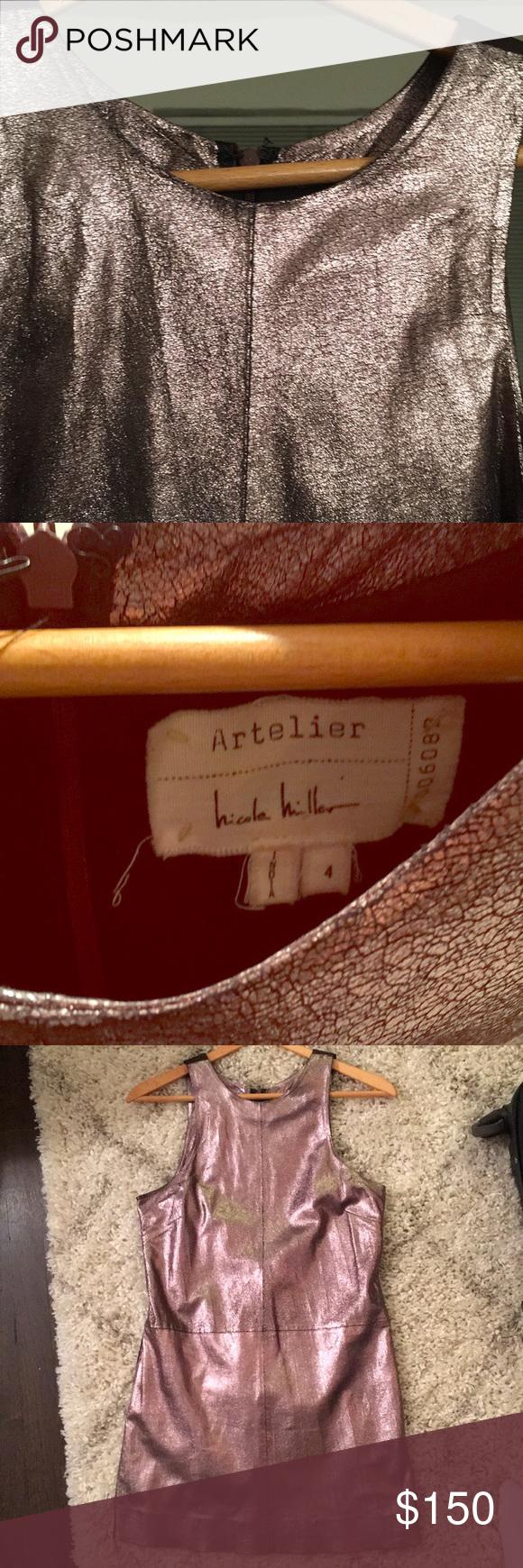 Nicole miller artelier mini leather dress nicole miller gold