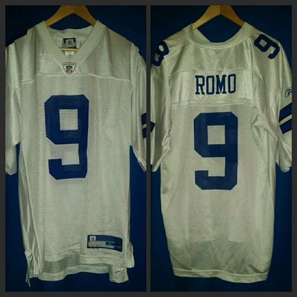 NWOT Men's Large Tony Romo Replica Jersey Officially licensed v-neck jersey features screen-printed player name and number on rear of jersey, as well as additional screen printed number, label and NFL Equipment logo on front of jersey. Made of durable, quick drying nylon material. Never worn, no rips or stains.  Approximate chest measurements: L=42/44 Reebok Tops