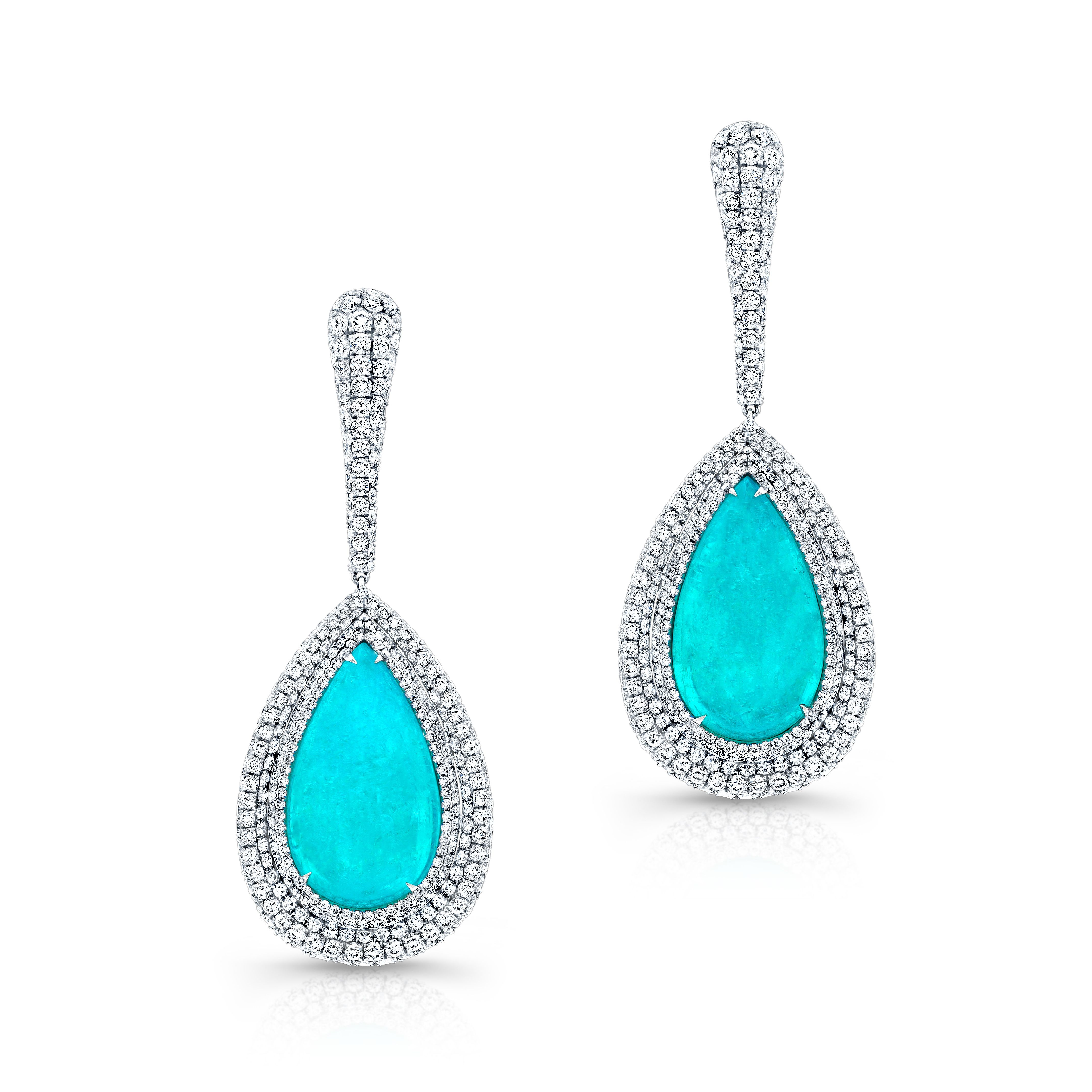 Cool The Summer Heat With Pear Shaped Paraiba Cabachon And Diamond Drop  Earrings