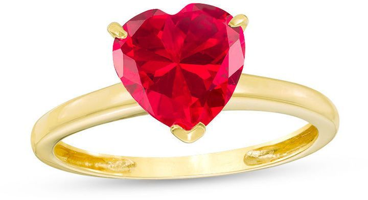 Zales 8.0mm Lab-Created Ruby Solitaire Ring in 10K Gold dUXEZE