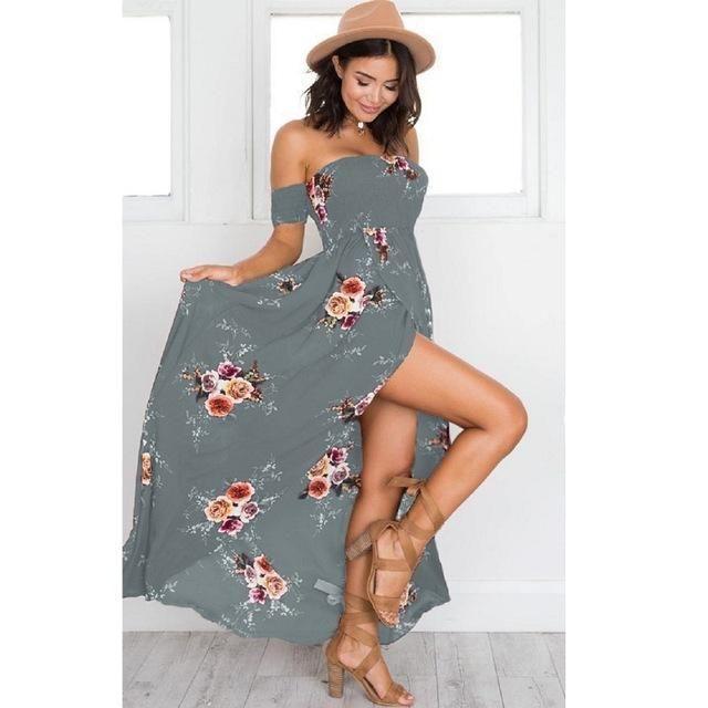 6c3f811cc33e 2018 Summer Vintage Boho Style Off Shoulder Vestidos De Festa Beach Dress