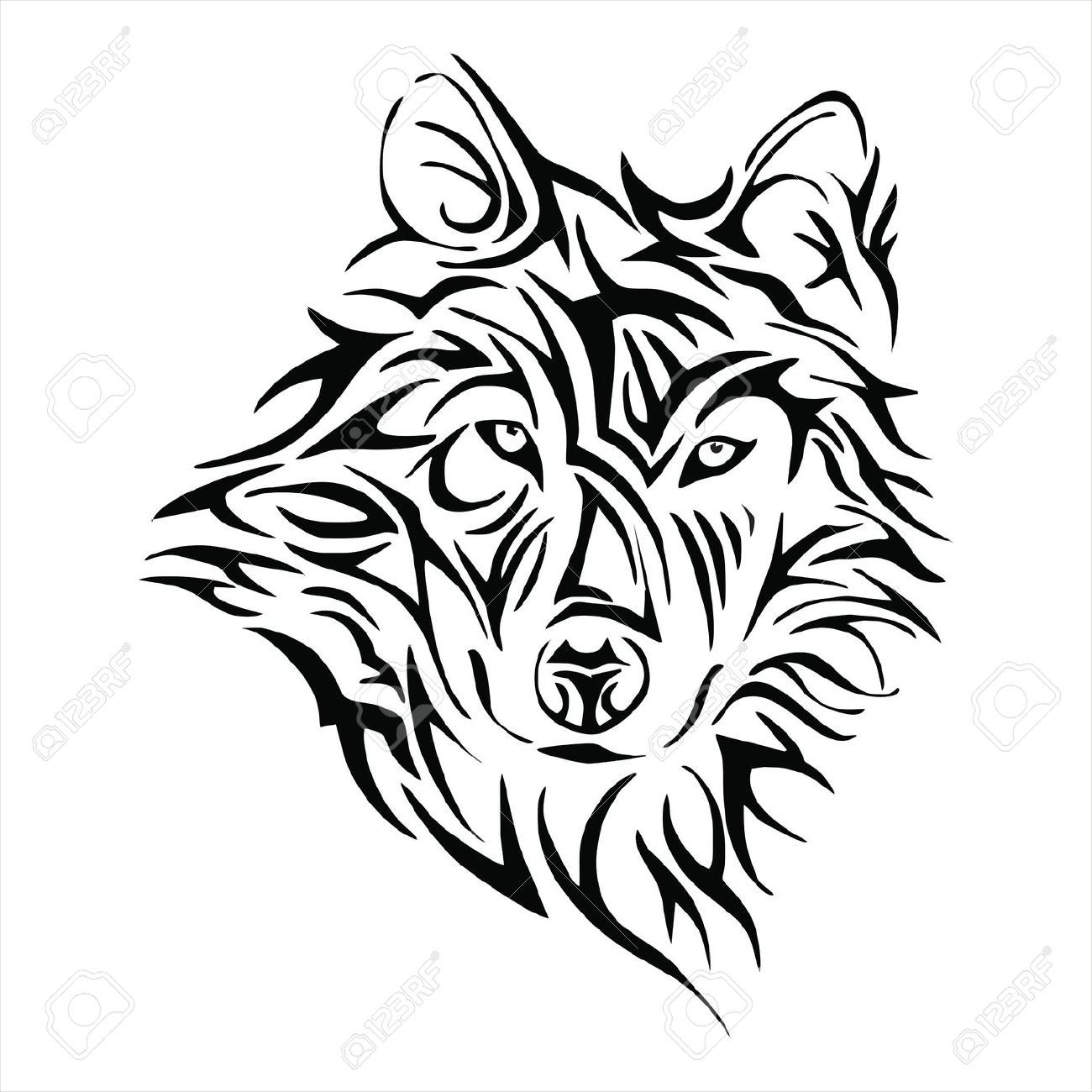 tribal wolf head google search tatouage pinterest. Black Bedroom Furniture Sets. Home Design Ideas