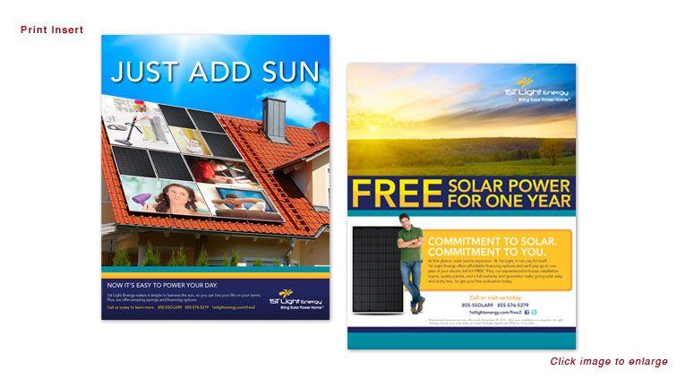 Just Add Sun Campaign For 1st Light Energy Print Insert Advertisements Marketing Agency Solar Free Solar