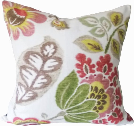 "This Braemore Floral Ikat Kazoo Opal Decorative Pillow Cover is a Beautiful Modern Accent Pillow, that Showcases the ..""KAZOO OPAL"".. Print Designer Pattern, From the Ikat with a Twist Collection.  This Pattern Features a Large Scale Floral Ikat Design in Warm Colors of Walnut, Greens (Celery and Leaf), Rose, Cranberry, Tan and Lemon Yellow, Against a Cream Background, with a Solid Brick Red Back."