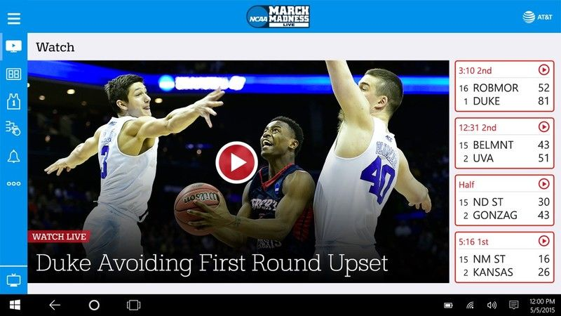 NCAA March Madness Live released on Windows 10 PC and