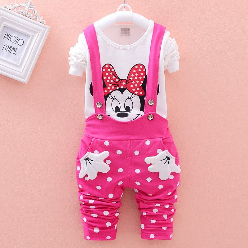 d4709915ac3 Find More Clothing Sets Information about 2016 spring new polka dot suit  baby girls clothing set kids girls Long Sleeve T shirt +overalls 2 pcs  clothes ...