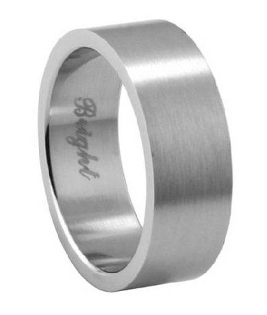 Men S Stainless Steel Wedding Ring With Flat Face And Brushed Finish 7 2mm