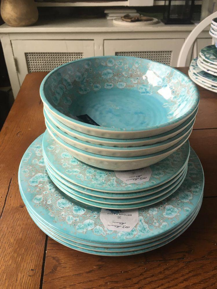 ARTISAN DELUXE HOME 12 PC NWT MELAMINE DINNERWARE WATERCOLOR DESIGN BLUE # CynthiaRowley & Artisan deluxe home 12 pc nwt melamine dinnerware watercolor design ...