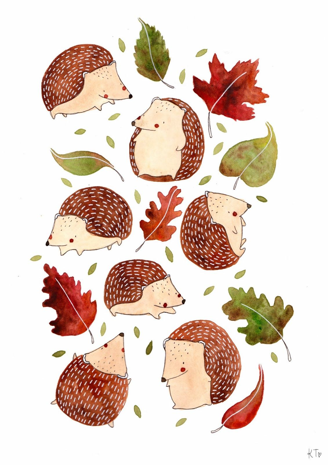 Hedgehog and Leaves by Katie Lou