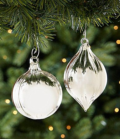 Dillards Trimmings High Shine Ball And Finial Ornament Set Dillards Glass Christmas Ornaments Ornament Set Christmas Bulbs