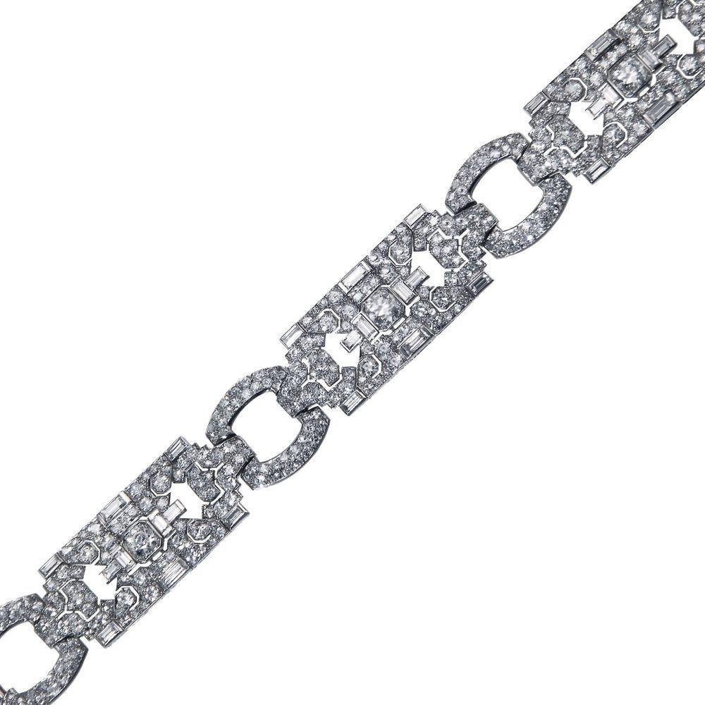 Platinum cartier french art deco diamond bracelet art deco diamond