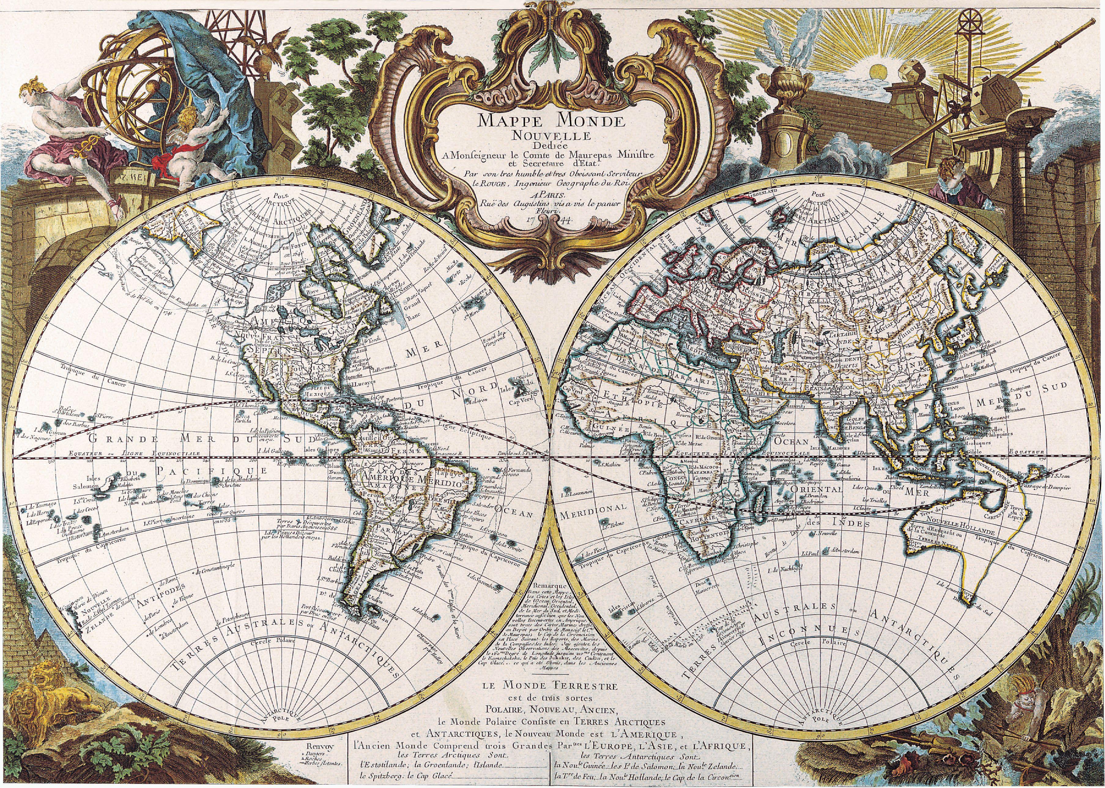 Antique maps of the worlddouble hemisphere mapgeorge louis le antique maps of the worlddouble hemisphere mapgeorge louis le gumiabroncs Gallery