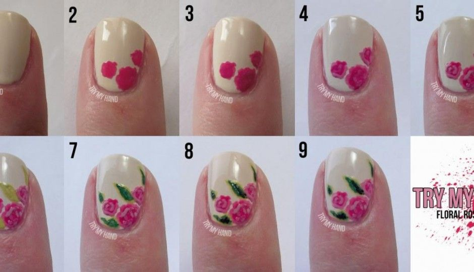 Rose Nail Design Step by Step | Nails | Pinterest | Rose nails, Easy ...