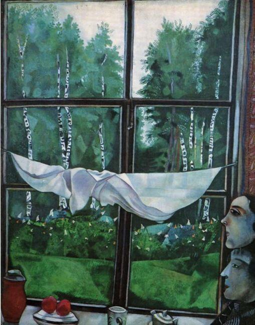 Vue de la fenêtre à Zaolchye, Chagall