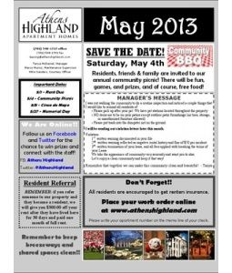may 2013 newsletter athens highland for our residents present
