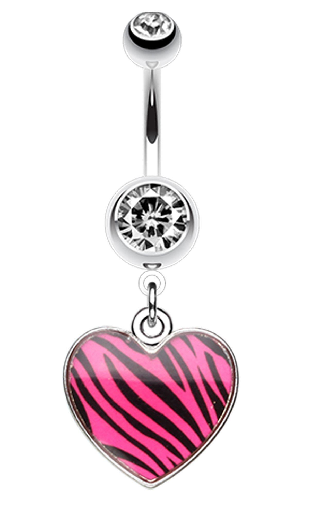 Fake belly piercing  Zebra Pattern Heart Belly Button Ring  Belly button Ring and Patterns