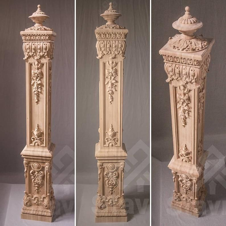 """Solid Wood Architectural SALVAGE Chunky Newel Post Column 48"""" Carved Repurpose"""
