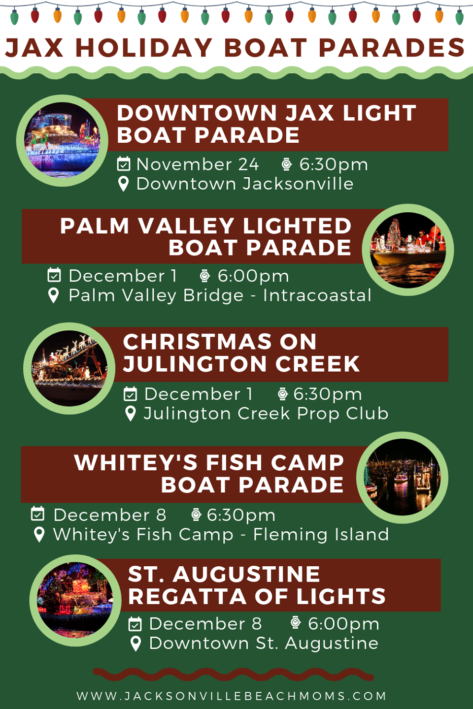 St Augustine Christmas Boat Parade 2019 Christmas & Holiday Light Boat Parades in Jacksonville, Florida