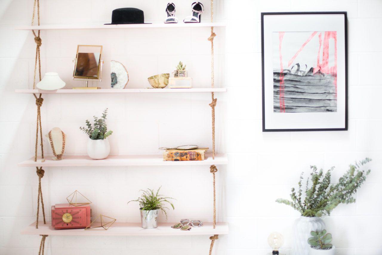 DIY Hanging Rope Shelves DIY Hanging Rope