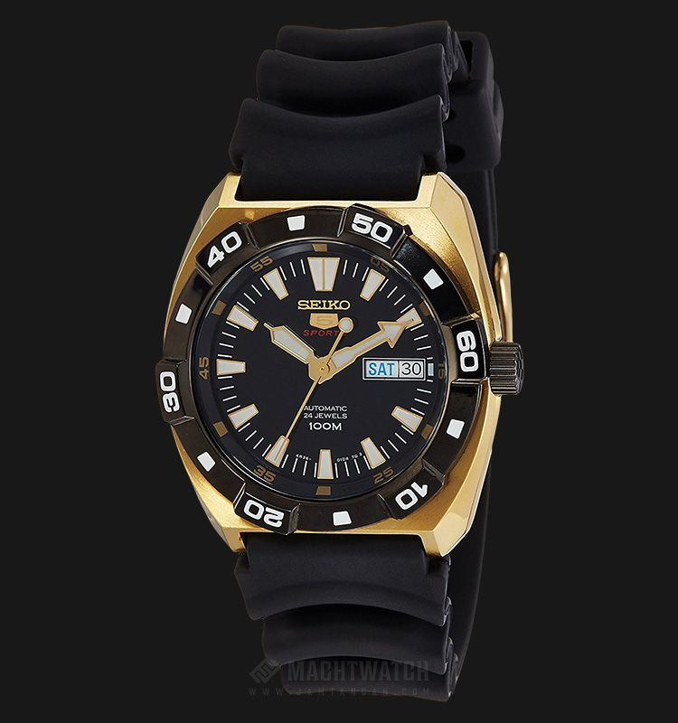 Rm570 jam tangan Seiko 5 Automatic SRP288J1 Black Dial Gold-tone Case  Rubber Strap - 110678f380