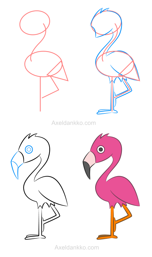 how to draw a flamingo comment dessiner un flamant rose dessin. Black Bedroom Furniture Sets. Home Design Ideas