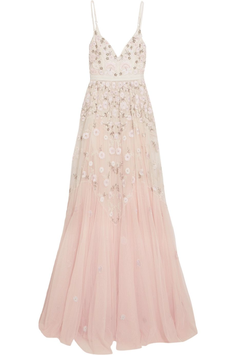 Needle u thread embellished embroidered tulle gown netaporter