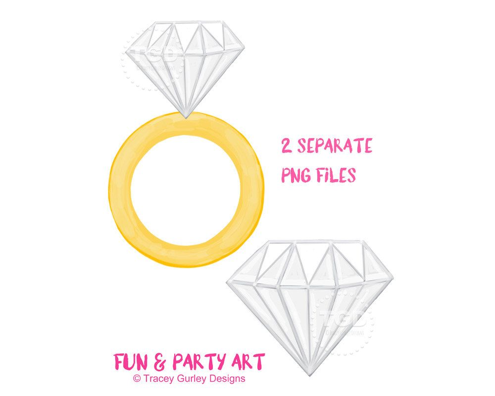 Diamond ring clipart diamond clip art invitation art bachelorette