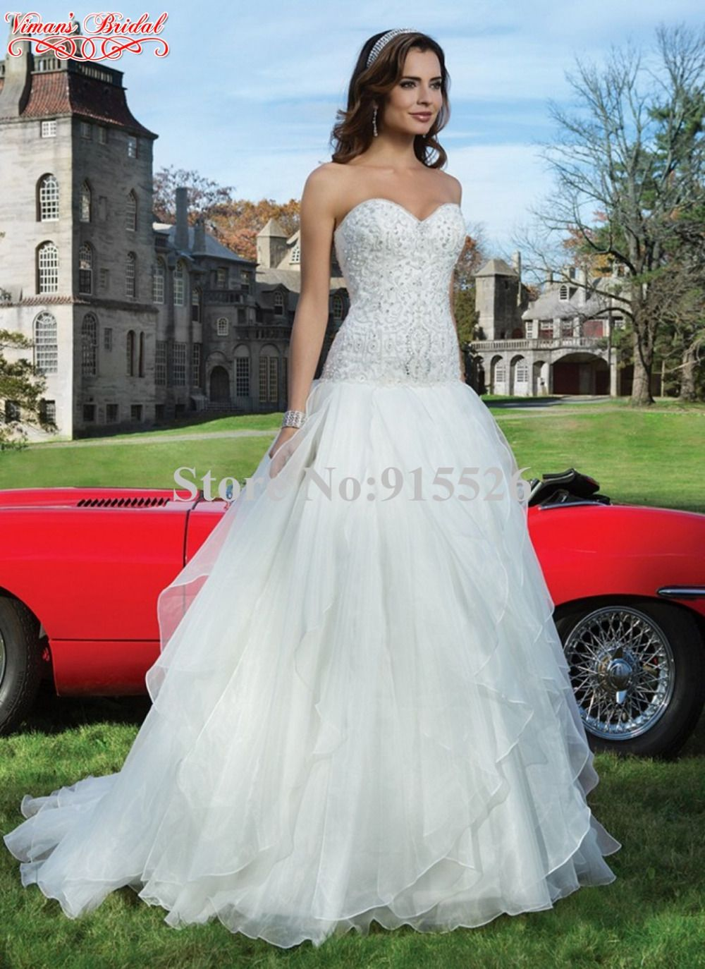 Click to buy ucuc organza white wedding dresses sweetheart beading