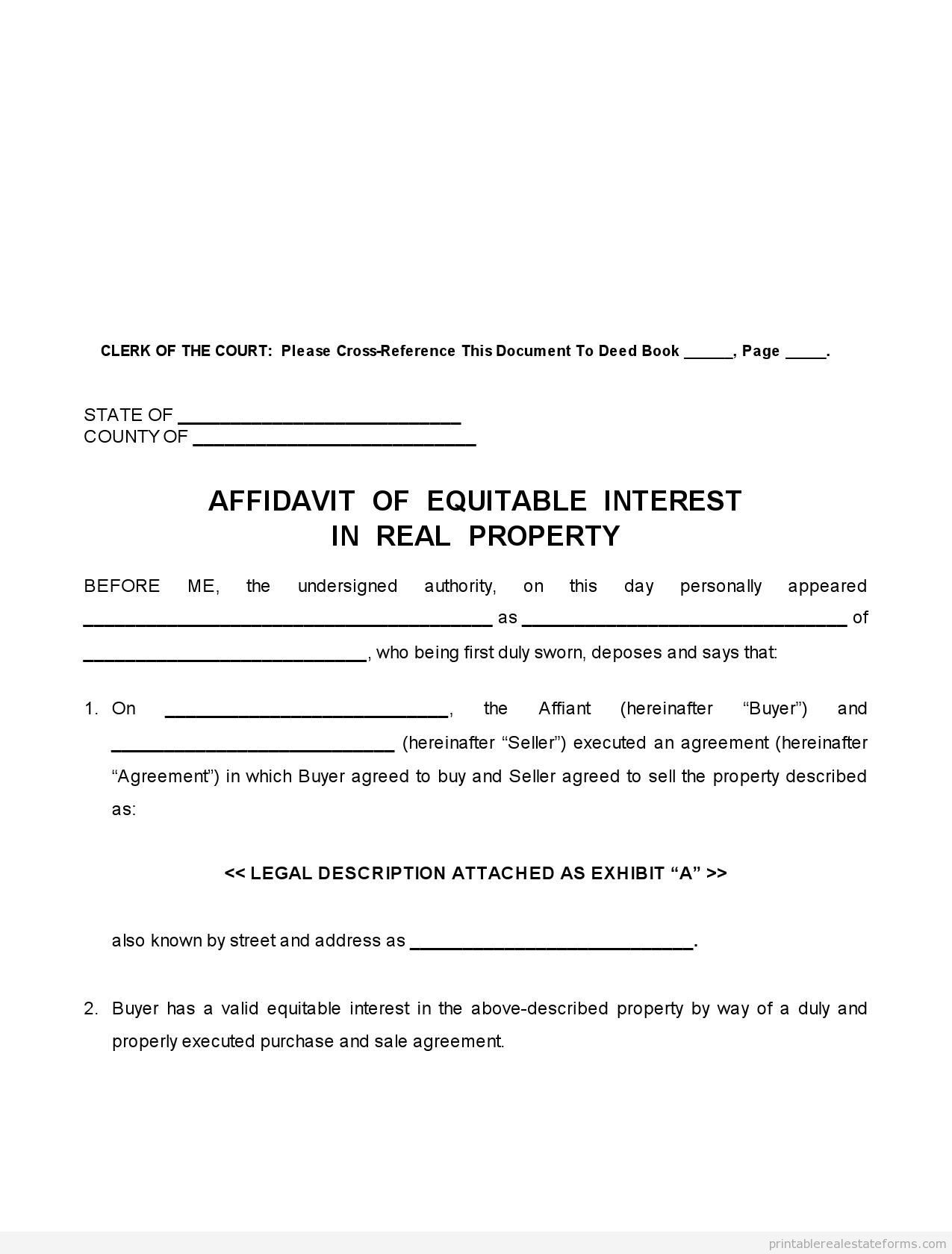 Printable Sample Affidavit Of Equitable Interest Form Free