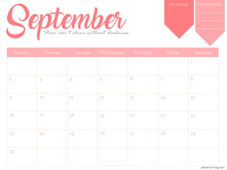 Calendar Template Free Printable  Start A Mom Blog