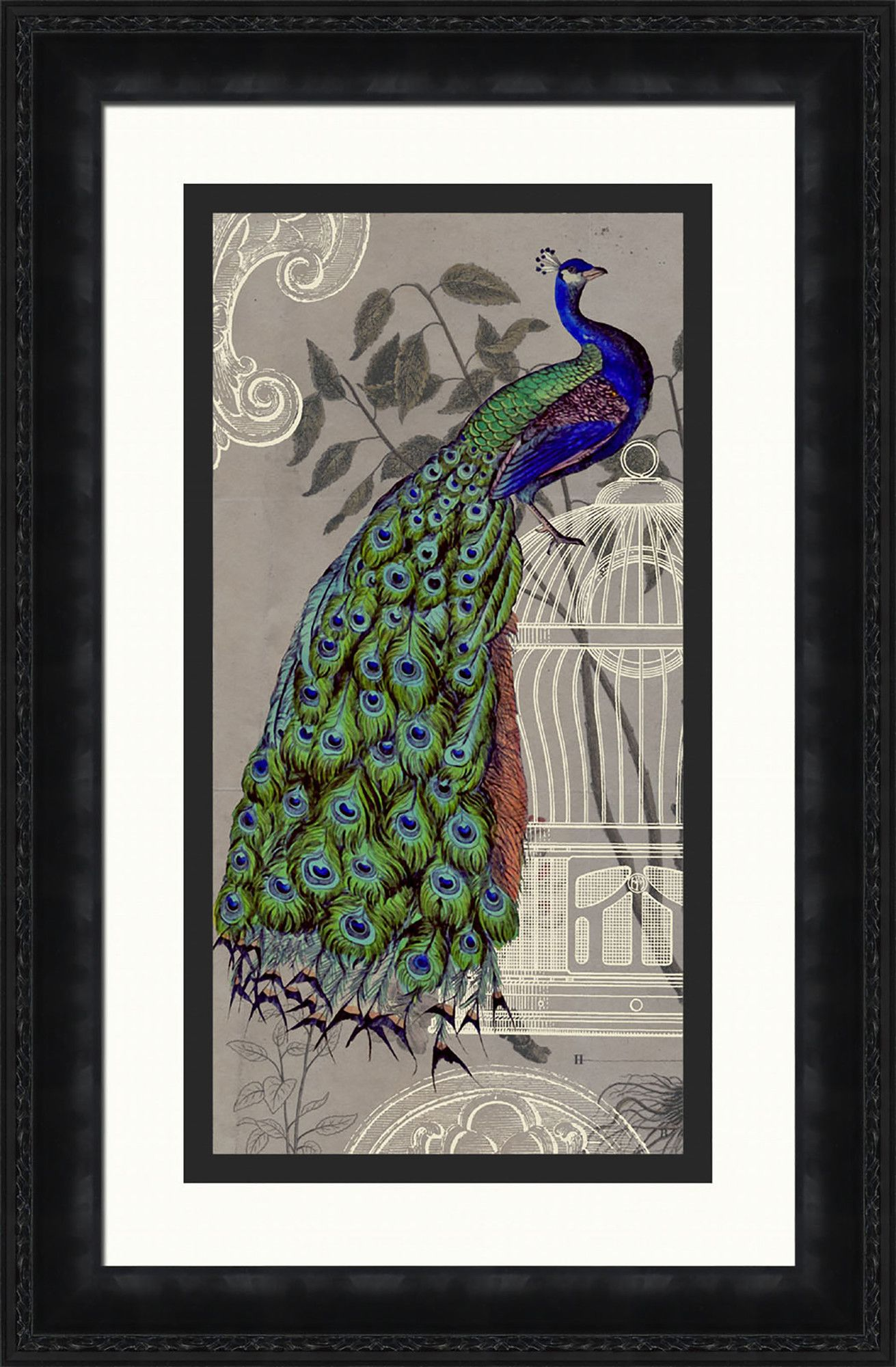 Peacock framed graphic art graphic art and peacocks