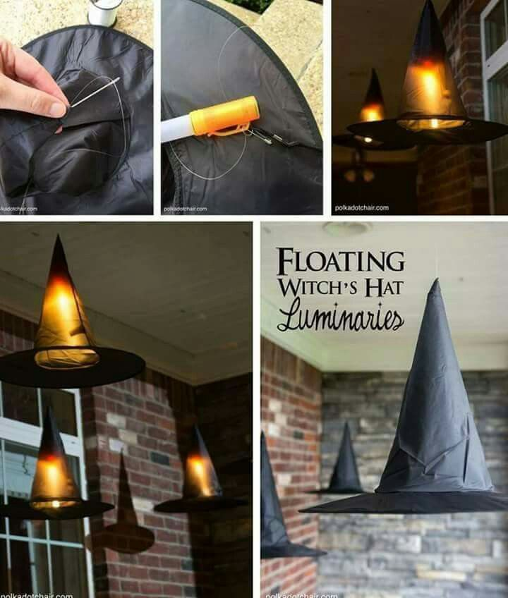 Floating witch hats.