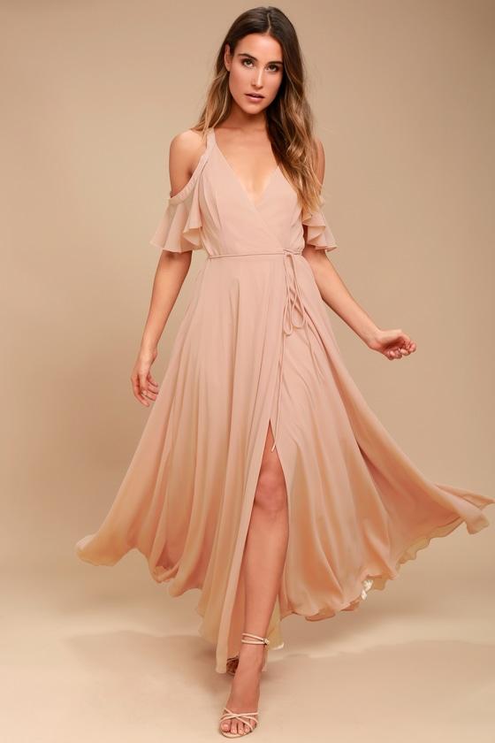Easy Listening Blush Cold Shoulder Wrap Maxi Dress Blush Maxi Dress Maxi Wrap Dress Lace Maxi Dress