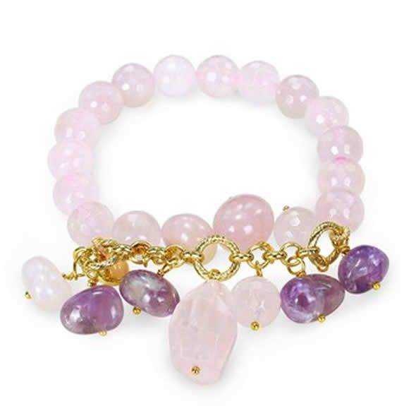 contemporary amethyst charm and rose quartz beaded stretch bracelet for jewelry gift ideas by julie leah