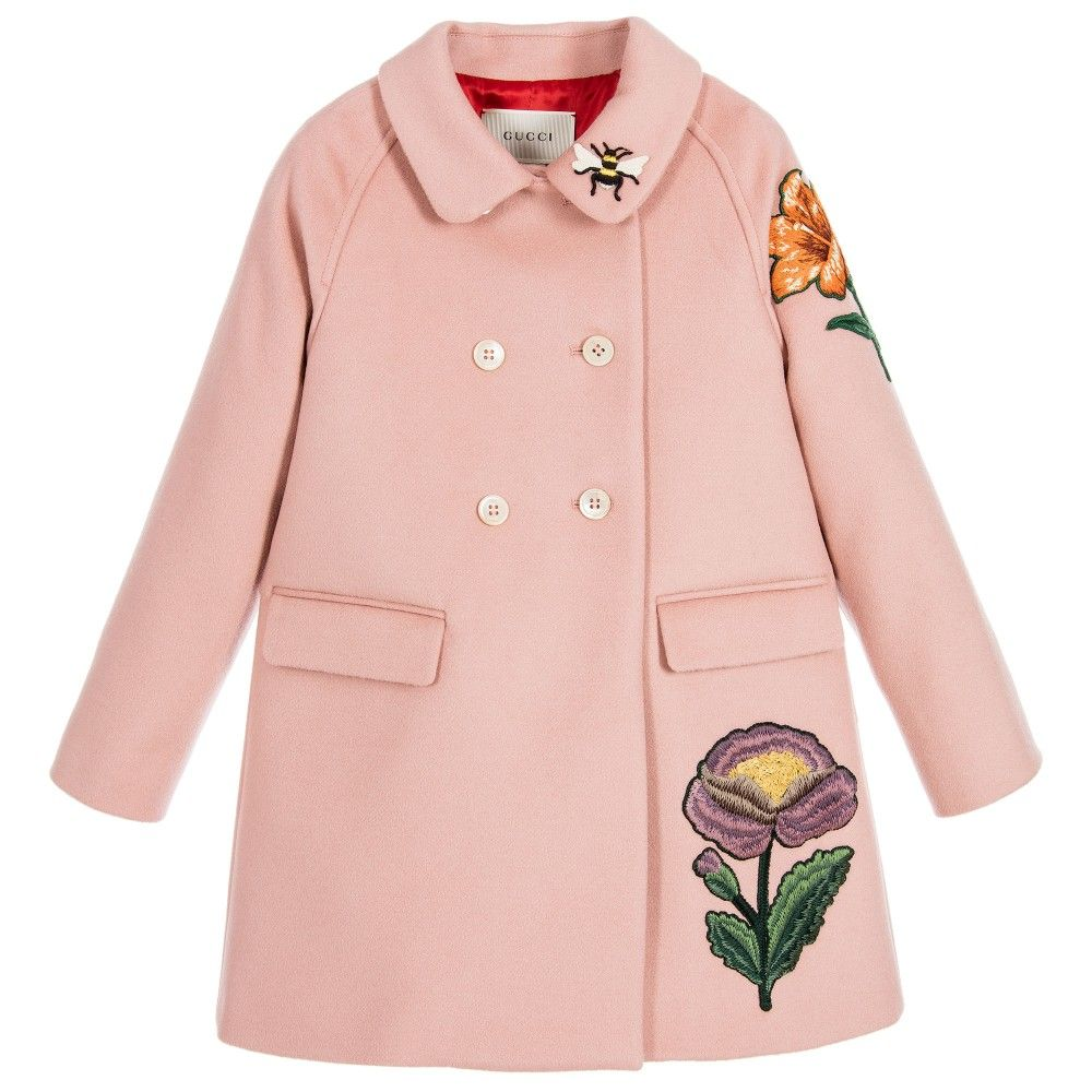 Girls Pink Wool & Cashmere Embroidered Coat | Cashmere and Gucci