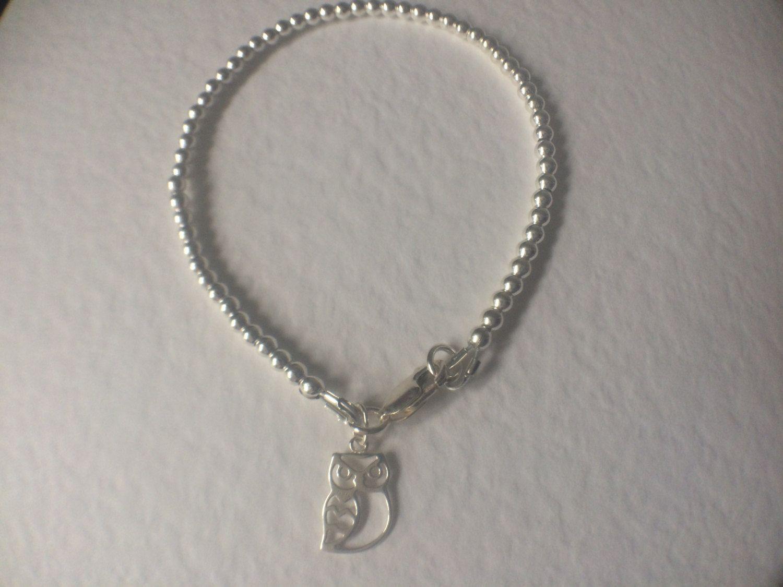Owl Charm Beaded Ball Bracelet, Sterling Silver Bead Bracelet, Owl Charm  Bracelet, Owl