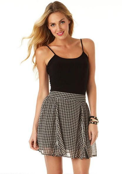 Hayden Houndstooth Skater Skirt - Skirts - Clothing - Alloy Apparel