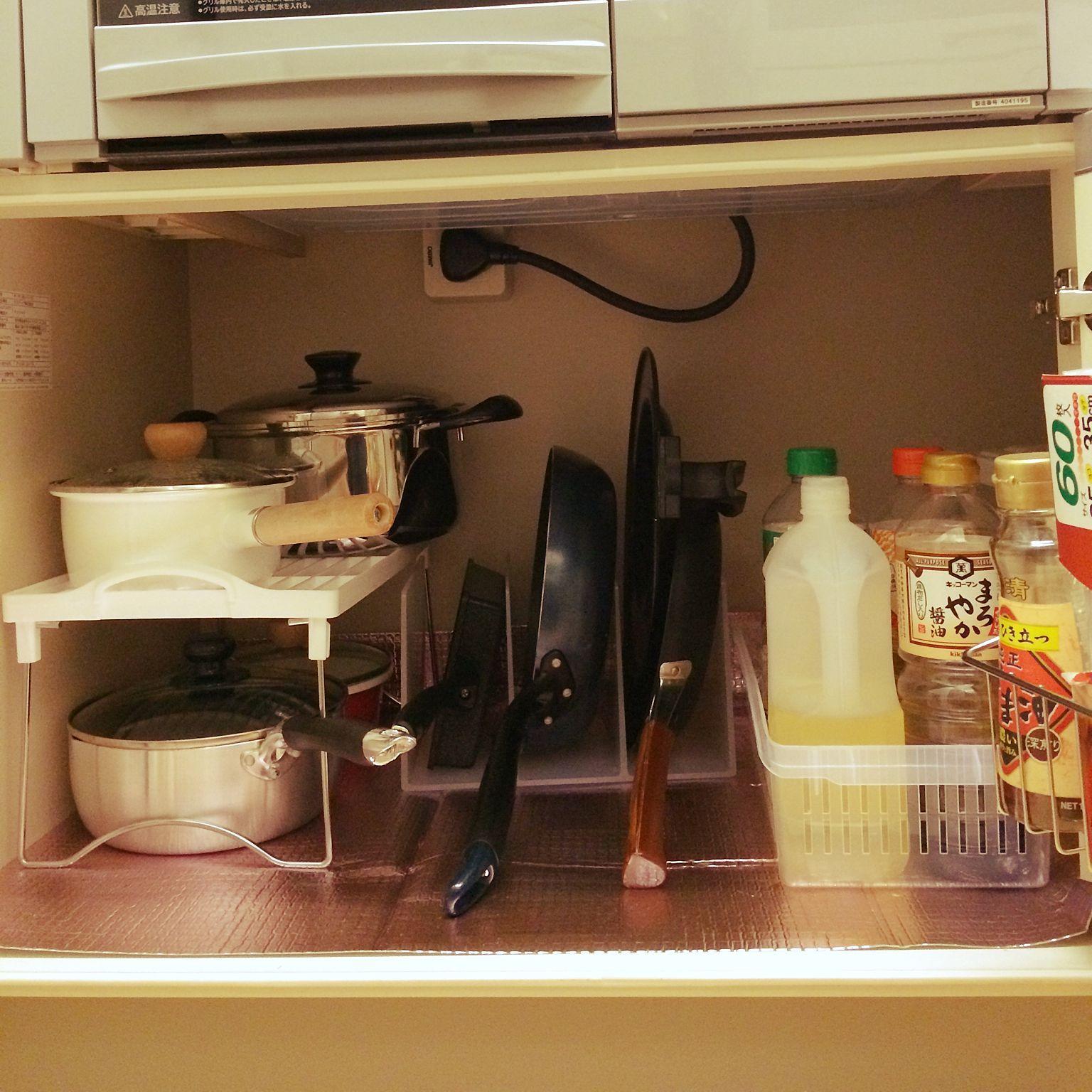 キッチン ニトリ 無印良品 100均 フライパン収納 などのインテリア
