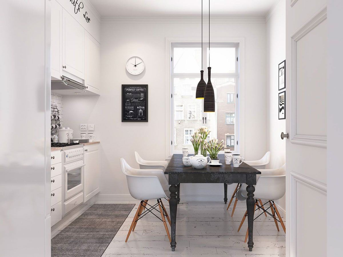28 Simple Dining Room Ideas For A Stunning Inspiration: Bright Scandinavian Decor In 3 Small One-Bedroom