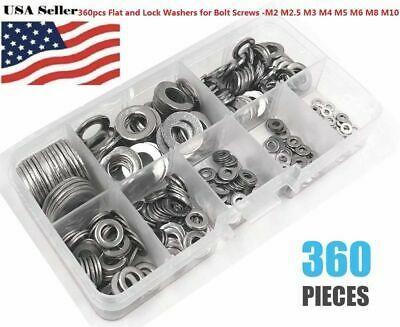Comdox 360Pcs 8 Sizes Stainless Steel Flat Washers Assortment Set M2 M2.5 M3 M4 M5 M6 M8 M10
