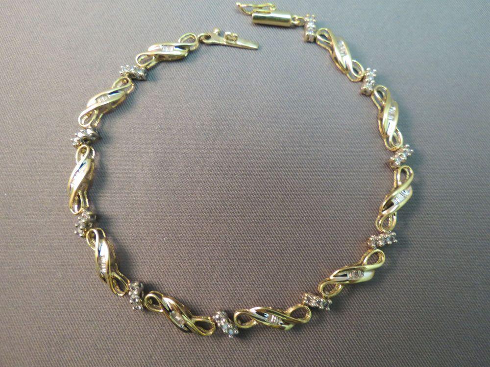10k Yellow Gold Diamond Tennis Bracelet Heng Ngai Sign 7 5 Baguette 5 22g Nice Tennis Bracelet Diamond Tennis Bracelet Diamond Bling