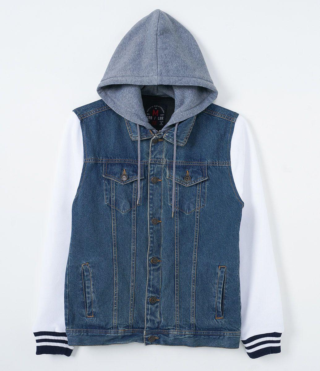 Jaqueta masculina Com capuz em moletom Marca  Blue Steel Tecido  material  sintético Composição  100% algodão Composição das mangas e capuz  60%  algodão 3fc1776720b