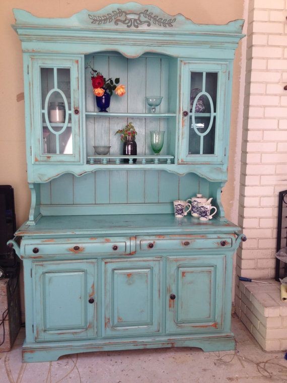 Antique hand finished china hutch by gypsysour on etsy for Kitchen ideas vintage