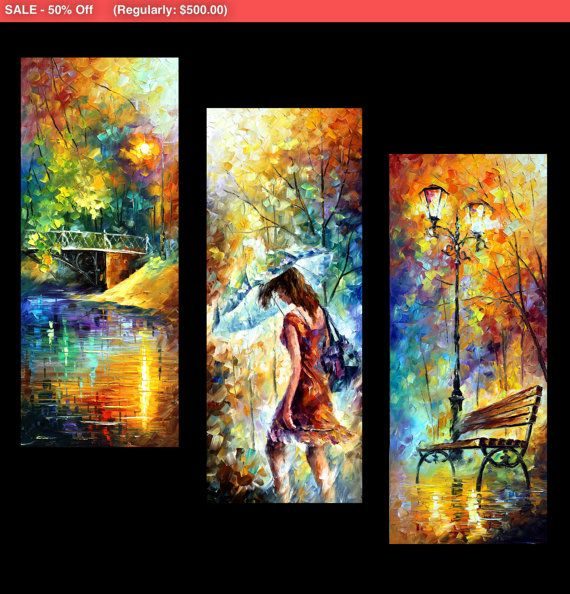Triptych Wall Art 3 Panel Painting On Canvas By Leonid