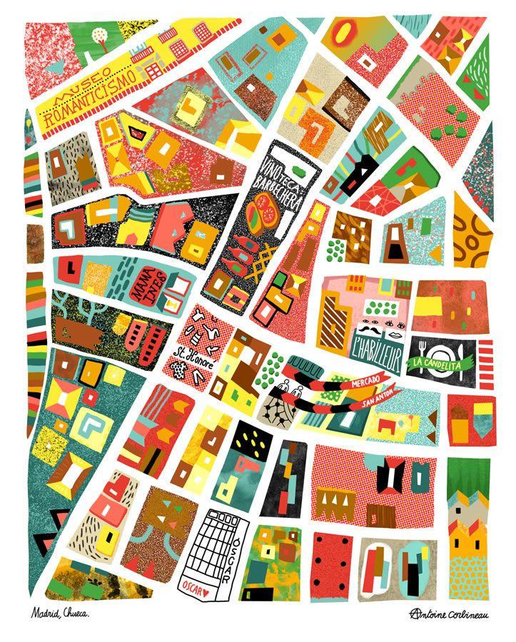 antoine corbineau map of chueca area of madrid illustrations